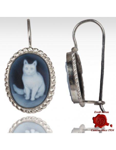 Cat Cameo Earrings Silver
