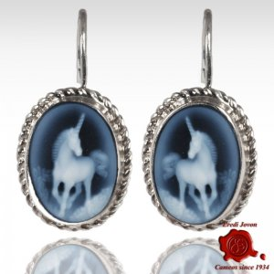 Unicorn blue cameo earrings