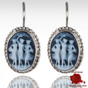 Blue Cameo Earrings Three Graces