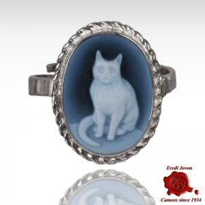 Blue Cat Cameo Ring