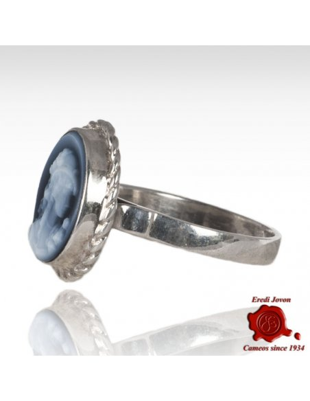 Blue Agate Silver Ring Angelica