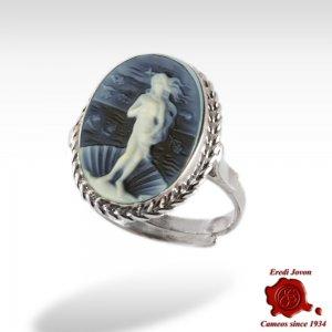 Birth of Venus blue cameo silver ring
