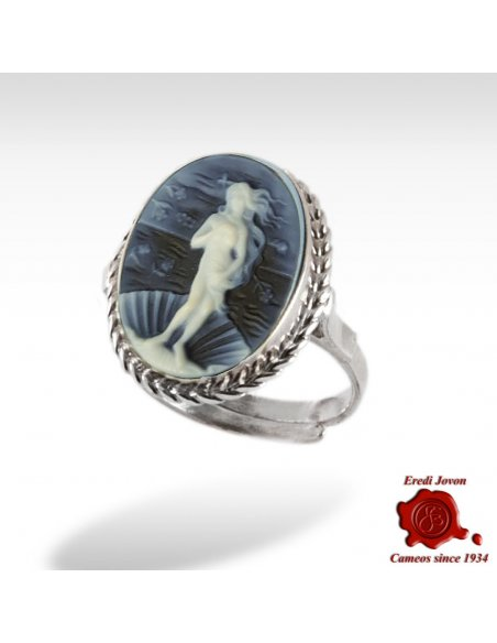 Birth of Venus Botticelli Blue Cameo Ring