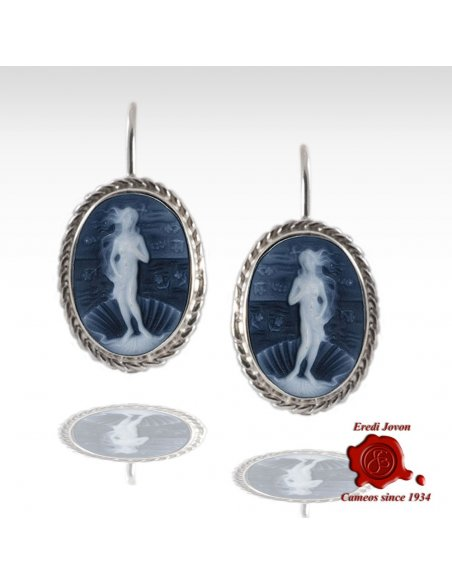 Birth of Venus Blue Cameo Earrings