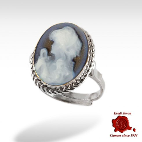 Hope lady blue cameo ring silver