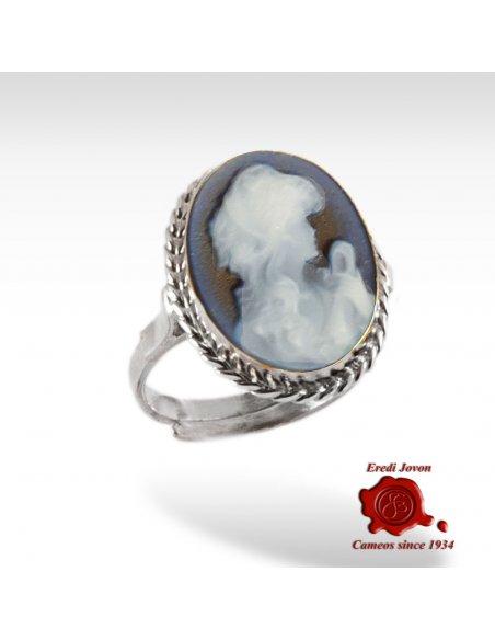 Speranza anello cammeo blu argento