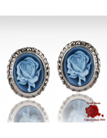 Blue Cameo Rose Earrings Silver
