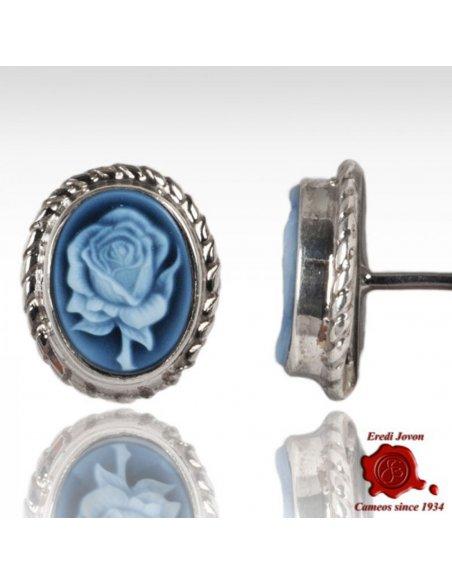 Orecchini Cammeo Rosa Blu