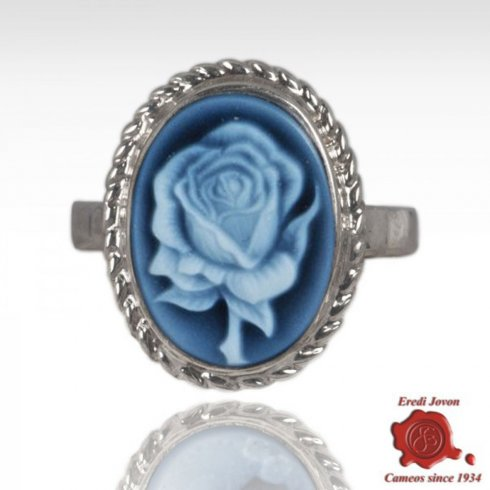 Blue Cameo Rose Ring