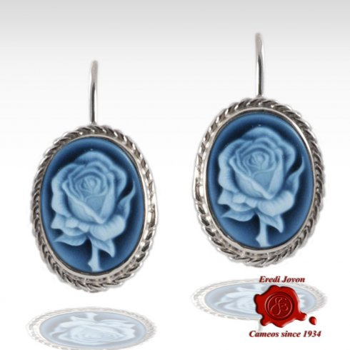 Blue Cameo Rose Earrings Silver Dangle