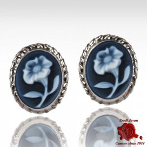 Lily Blue Cameo Earrings