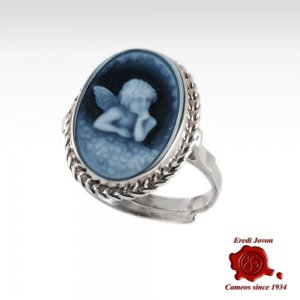 Guardian Angel Cameo Ring in Blue