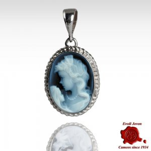 Mother with Child Blue Cameo Necklace