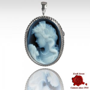 Mother with child blue cameo necklace and brooch