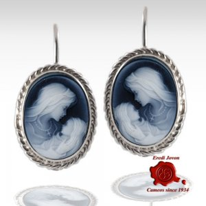 Virgin Mary blue cameo earrings