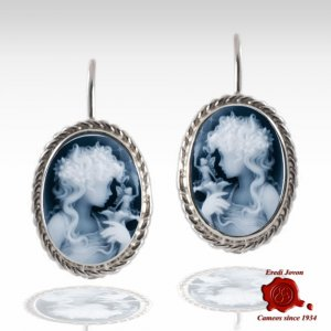 Lady with Fairy Blue Cameo Silver Earrings