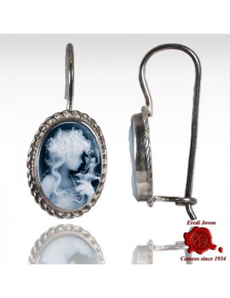 Blue Cameo Earrings Dangle