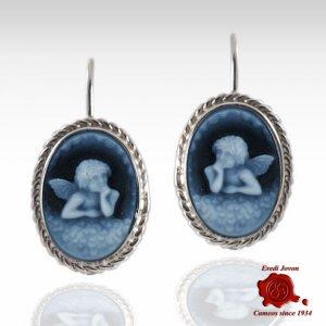 Guardian angel blue cameo earrings