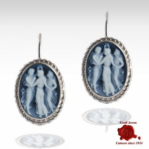 Three Graces Blue Cameo Earrings