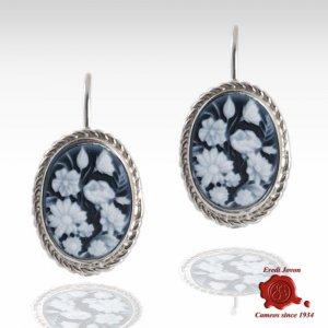 Flower blu cameo earrings silver
