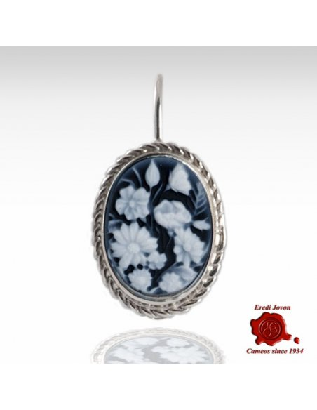 Flower Blue Agate Cameo Earrings