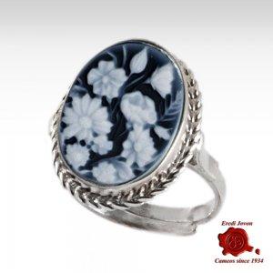 Flowers Blu Cameo Ring