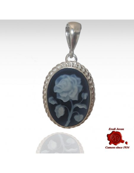 Flower Blue Agate Cameo
