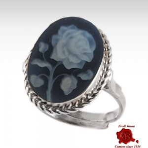Rose blue cameo silver ring