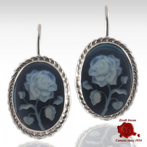 Rose blue cameo silver earrings