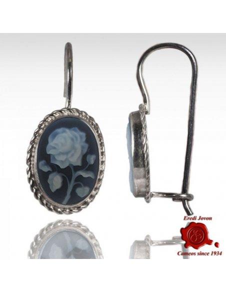 Blu Rose Cammeo Earrings