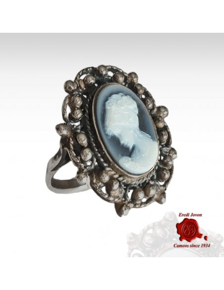 Filigree Venetian Ring with Blue Cameo