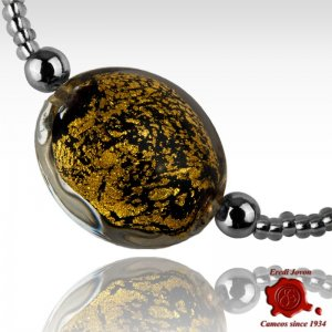 Murano Glass Adjustable Black & Gold Bracelet