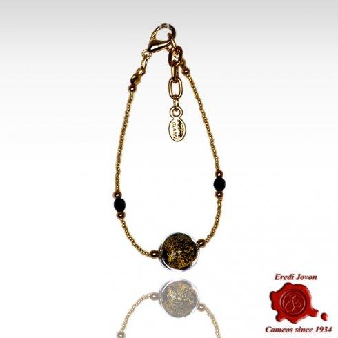 Murano Glass Adjustable Black & Gold Bracelet