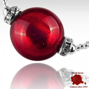 Bracciale Vetro Veneziano Rosso Montatura Argentata O Dorata