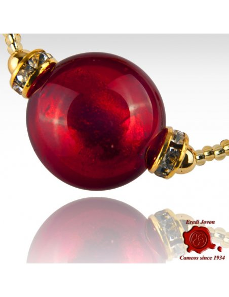 Venetian Glass Red Bead Bracelet Silver Or Gold Plated