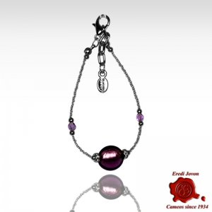 Amethyst Murano Glass Beads Adjustable Bracelet