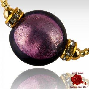 Amethyst Murano Glass Beads Adjustable Bracelet
