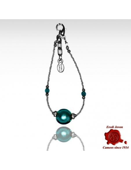 Sea Green Murano Glass Bracelet Silver Or Gold Plated