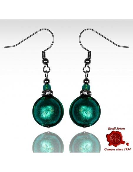 Venetian Sea Green Glass Bead Pendant Earrings