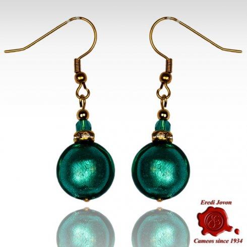 Orecchini Perla Vetro Veneziano Verde Mare