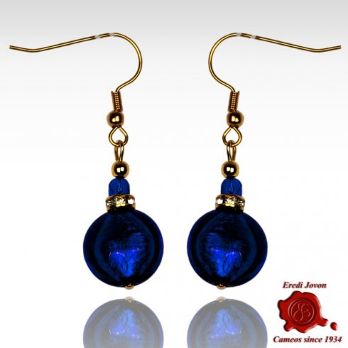 Blue Round Shaped Bead Glass Pendant Earrings