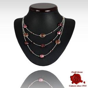 Three Lines Venetian Purple Beads Necklace