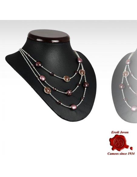Collana Tre Fili Perle Veneziane Viola