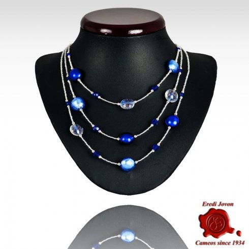 Three Lines Adjustable Venetian Glass Necklace