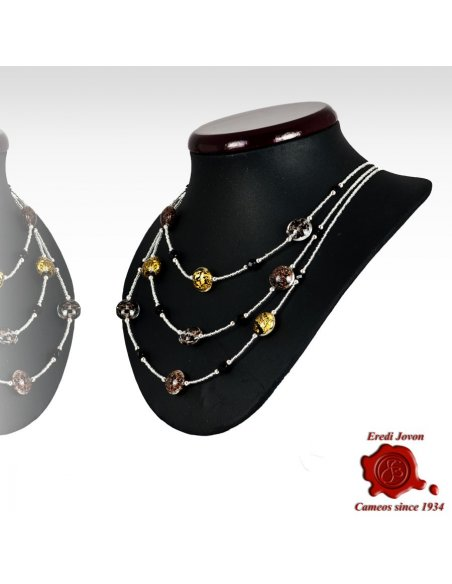 Three Lines Venetian Glass Beads Necklace