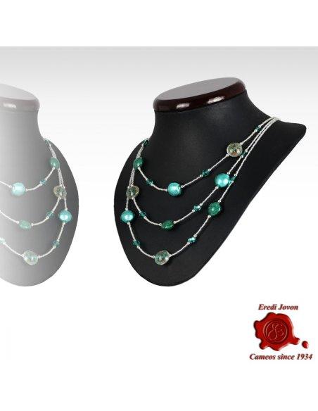 Collana Tre Fili Perle Vetro Verde Mare