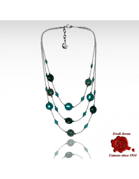 Three Lines Beads Necklace Sea Green Glass