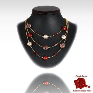 Three Lines White And Red Round Beads