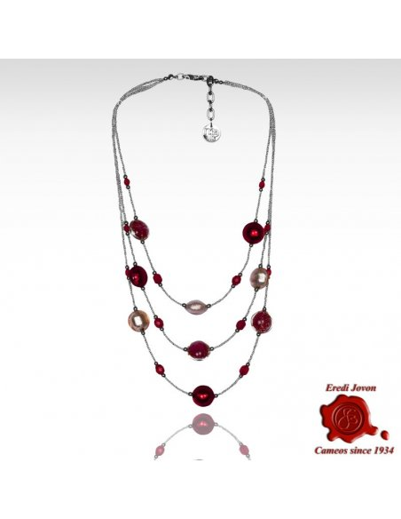 Collana Tre Fili Perle Bianco E Rosso