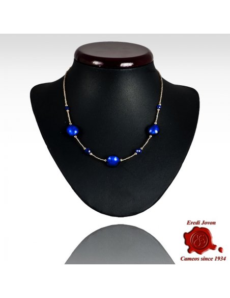 Venetian Blue Beads Adjustable Necklace